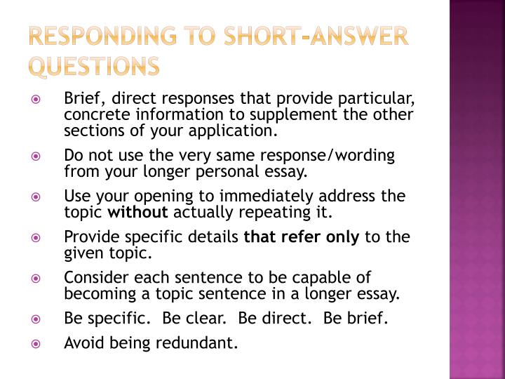 Responding to Short-Answer Questions