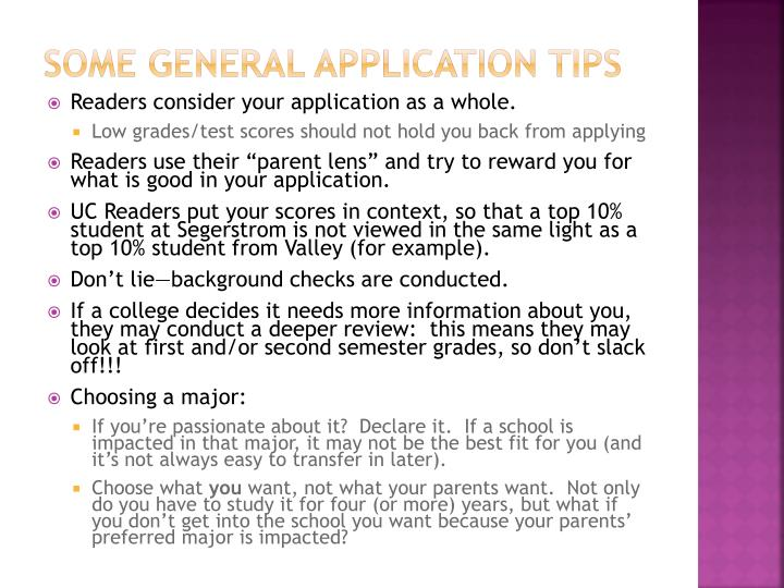 Some General Application Tips