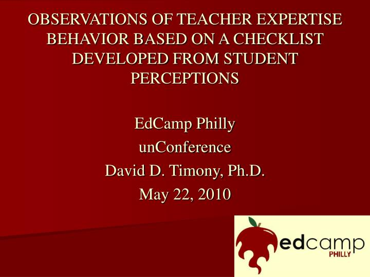 observations of teacher expertise behavior based on a checklist developed from student perceptions n.