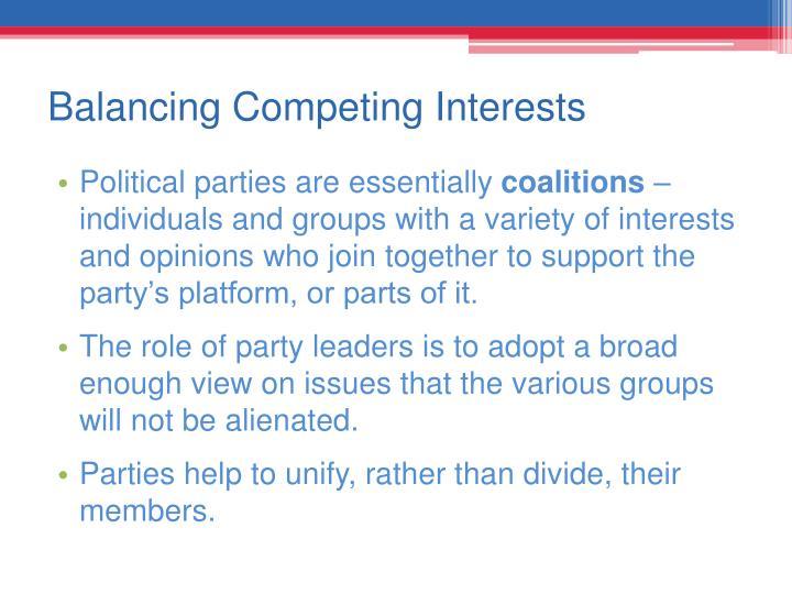 Balancing Competing Interests