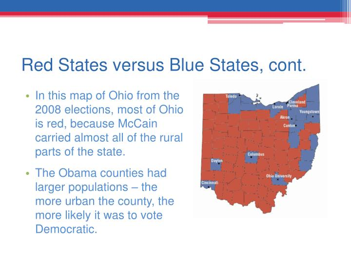 Red States versus Blue States, cont.