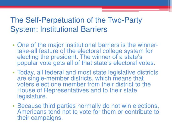 The Self-Perpetuation of the Two-Party System: Institutional Barriers