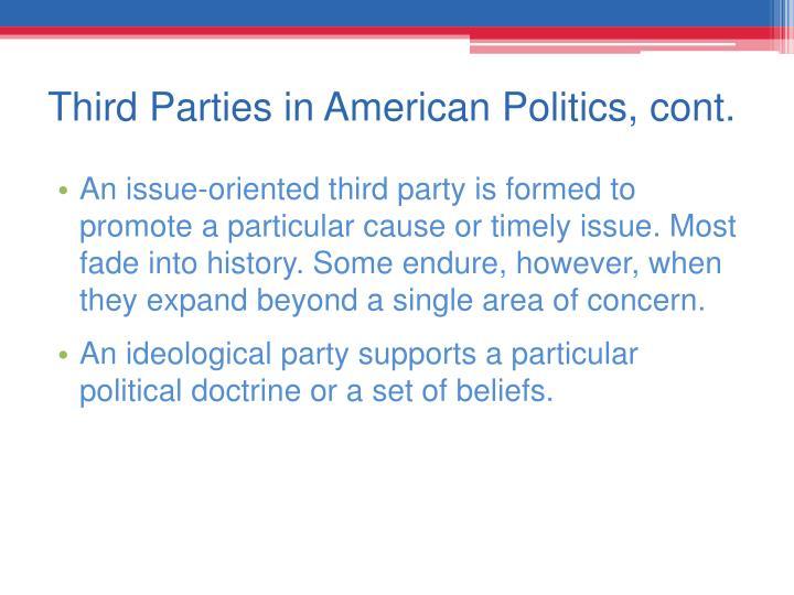 Third Parties in American Politics, cont.