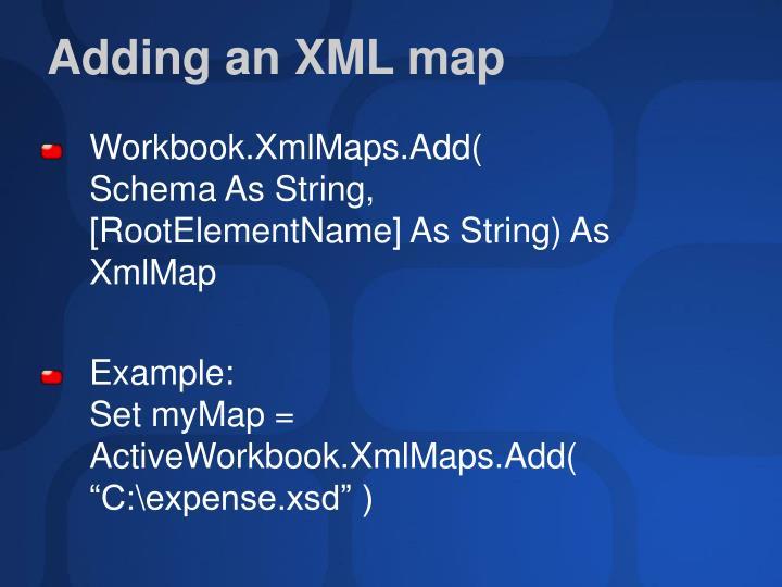 Adding an XML map
