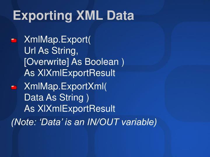 Exporting XML Data