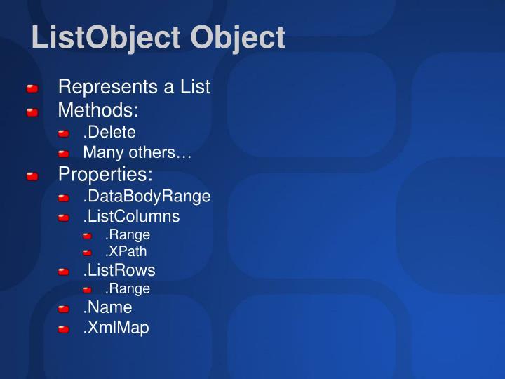 ListObject Object