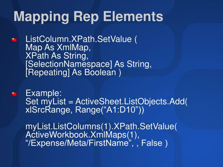 Mapping Rep Elements