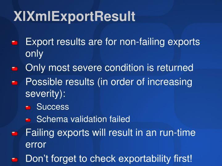 XlXmlExportResult