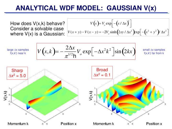 ANALYTICAL WDF MODEL:  GAUSSIAN V(x)