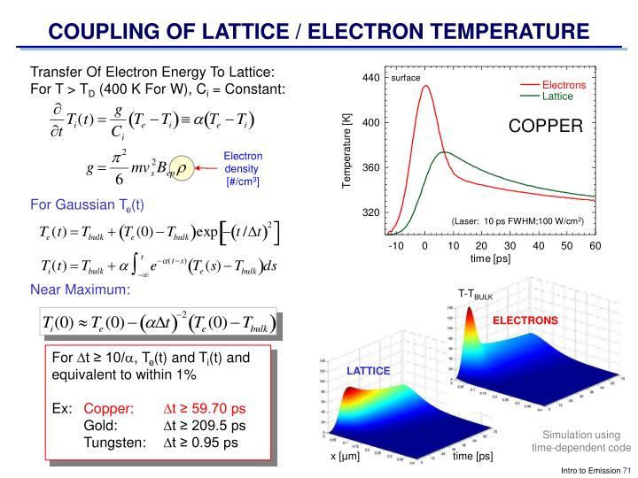 COUPLING OF LATTICE / ELECTRON TEMPERATURE