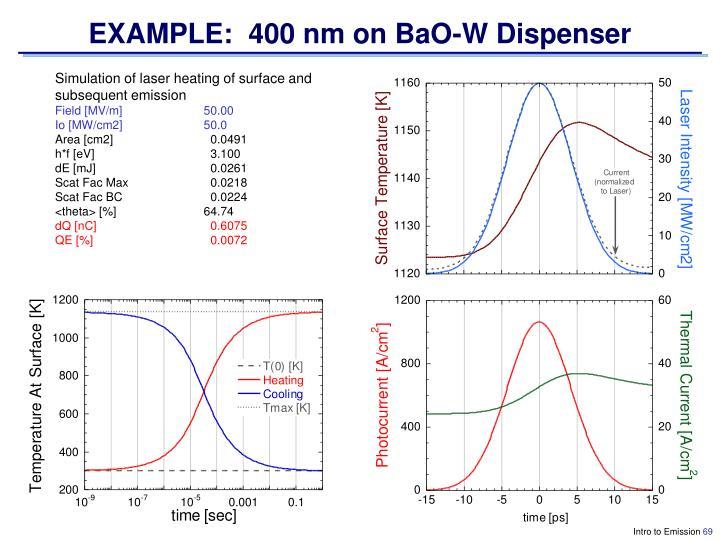 EXAMPLE:  400 nm on BaO-W Dispenser