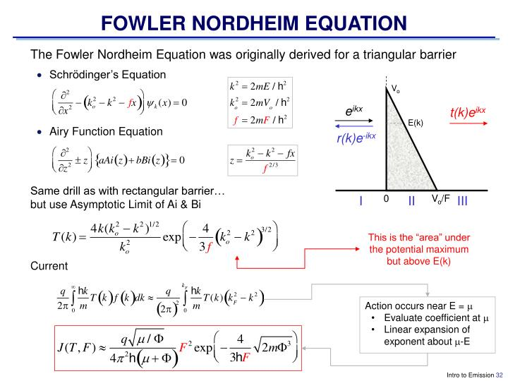 FOWLER NORDHEIM EQUATION