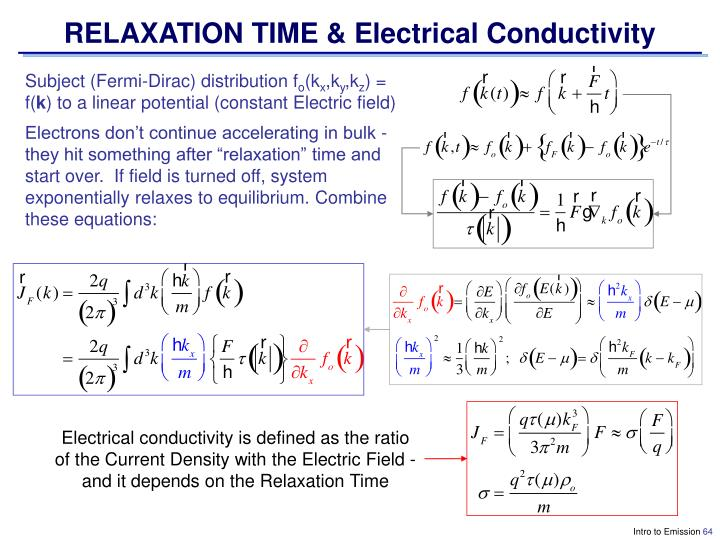 RELAXATION TIME & Electrical Conductivity