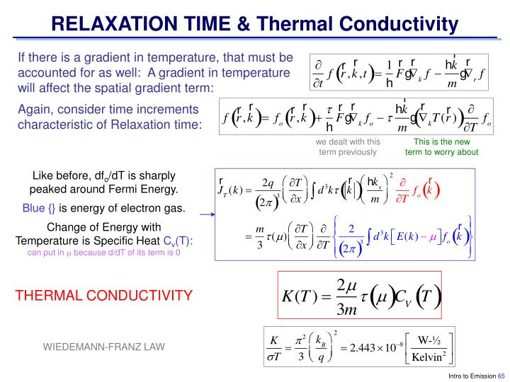 RELAXATION TIME & Thermal Conductivity