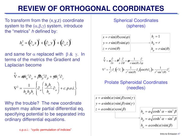 REVIEW OF ORTHOGONAL COORDINATES