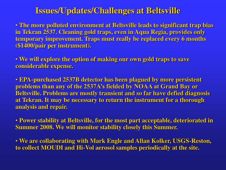 Issues/Updates/Challenges at Beltsville