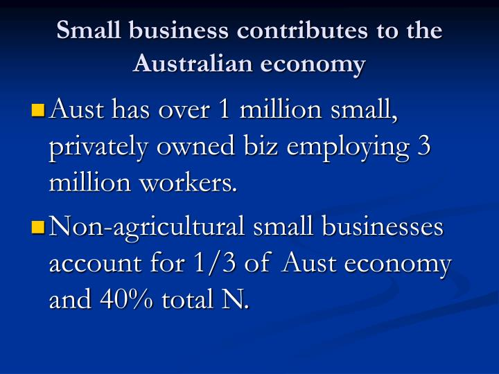 Small business contributes to the Australian economy
