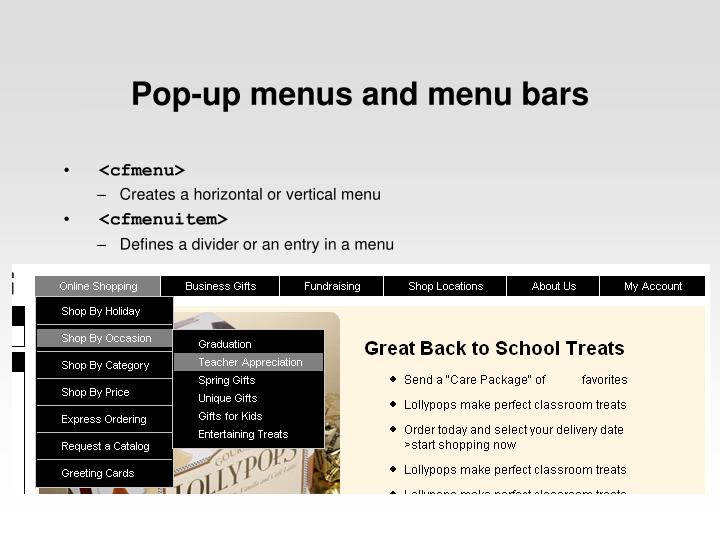 Pop-up menus and menu bars