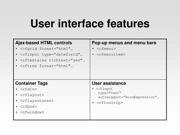 User interface features