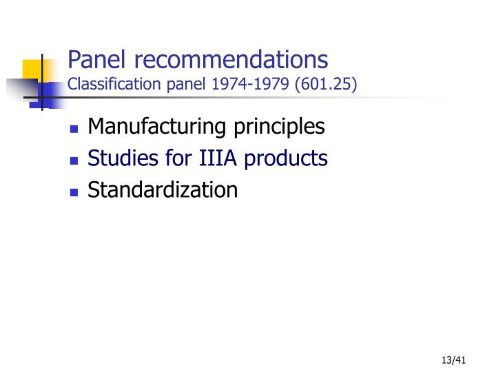 Panel recommendations