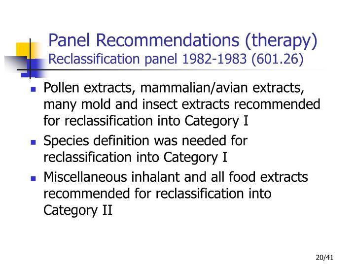 Panel Recommendations (therapy)
