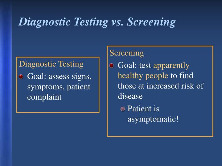 Diagnostic Testing vs. Screening