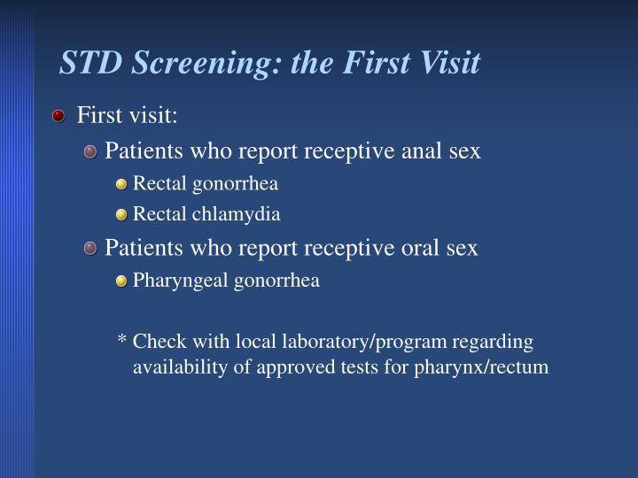 STD Screening: the First Visit