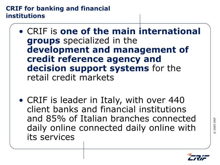Crif for banking and financial institutions