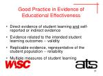 good practice in evidence of educational effectiveness