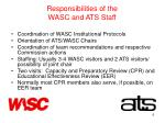 responsibilities of the wasc and ats staff