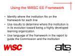 using the wasc ee framework