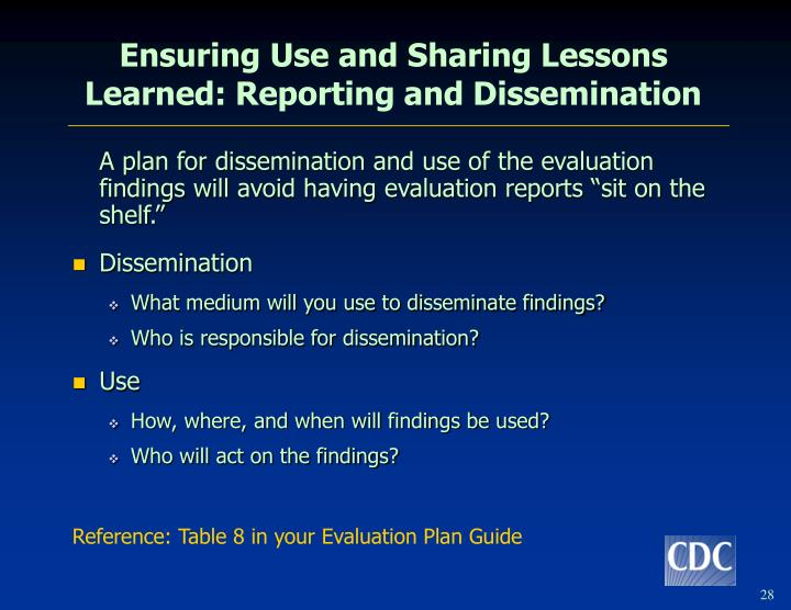 Ensuring Use and Sharing Lessons Learned: Reporting and Dissemination