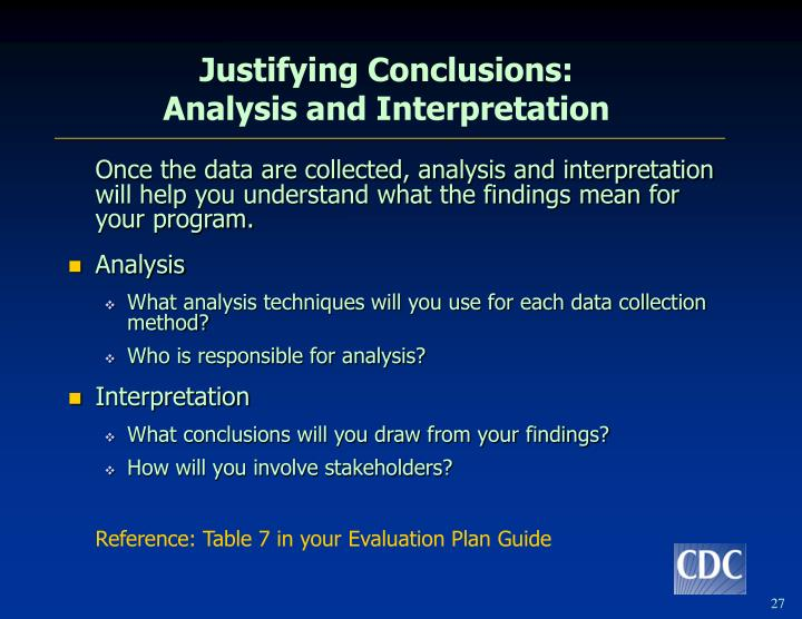 Justifying Conclusions: