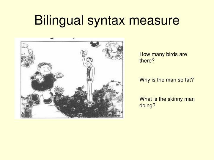 Bilingual syntax measure