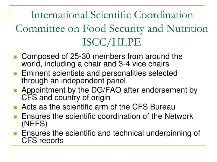 International Scientific Coordination Committee on Food Security and Nutrition