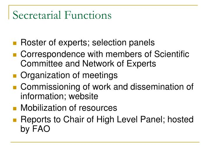 Secretarial Functions