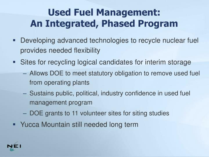 Used Fuel Management: