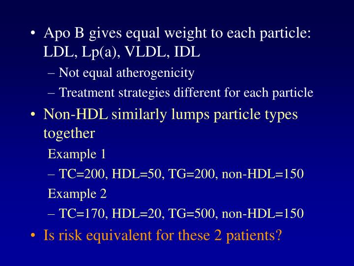 Apo B gives equal weight to each particle: LDL, Lp(a), VLDL, IDL