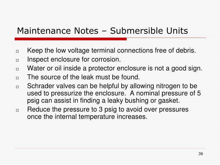 Maintenance Notes – Submersible Units