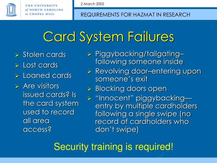 Stolen cards