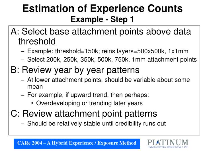 Estimation of Experience Counts