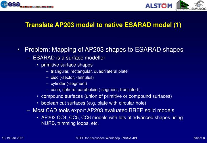 Translate AP203 model to native ESARAD model (1)