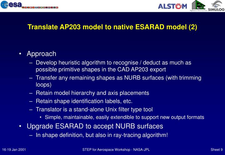 Translate AP203 model to native ESARAD model (2)