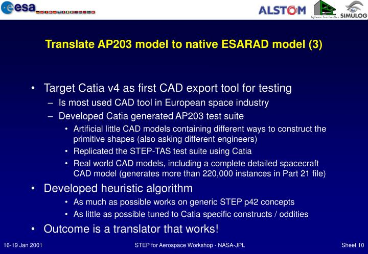 Translate AP203 model to native ESARAD model (3)