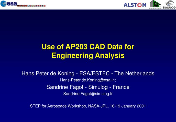 Use of ap203 cad data for engineering analysis