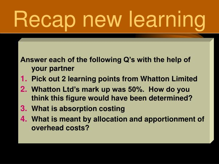 Recap new learning