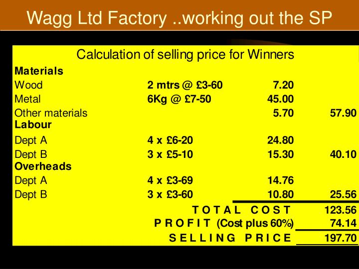 Wagg Ltd Factory ..working out the SP