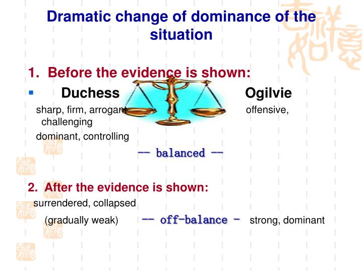 Dramatic change of dominance of the situation