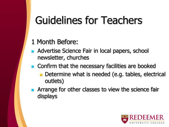Guidelines for Teachers