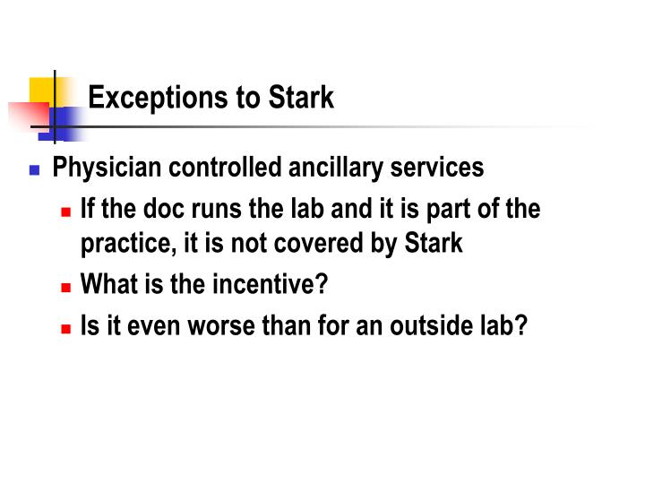 Exceptions to Stark